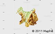 Physical Map of Kukës, single color outside