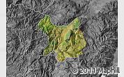 Satellite Map of Kukës, desaturated