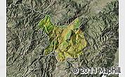 Satellite Map of Kukës, semi-desaturated