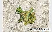 Satellite Map of Kukës, shaded relief outside