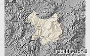 Shaded Relief Map of Kukës, darken, desaturated