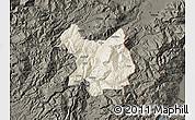 Shaded Relief Map of Kukës, darken
