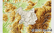 Shaded Relief Map of Kukës, physical outside
