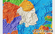 Shaded Relief Map of Kukës, political outside