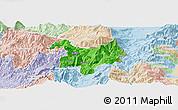 Political Panoramic Map of Kukës, lighten