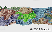 Political Panoramic Map of Kukës, semi-desaturated