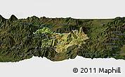 Satellite Panoramic Map of Kukës, darken