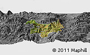 Satellite Panoramic Map of Kukës, desaturated