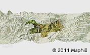 Satellite Panoramic Map of Kukës, lighten
