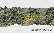 Satellite Panoramic Map of Kukës, semi-desaturated