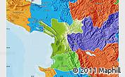 Physical Map of Lezhë, political outside