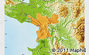 Political Map of Lezhë, physical outside