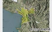 Satellite Map of Lezhë, semi-desaturated