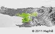 Physical Panoramic Map of Lezhë, desaturated