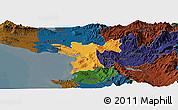 Political Panoramic Map of Lezhë, darken