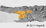 Political Panoramic Map of Lezhë, desaturated