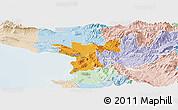 Political Panoramic Map of Lezhë, lighten