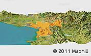 Political Panoramic Map of Lezhë, satellite outside