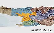 Political Panoramic Map of Lezhë, semi-desaturated