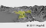 Satellite Panoramic Map of Lezhë, desaturated