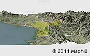 Satellite Panoramic Map of Lezhë, semi-desaturated