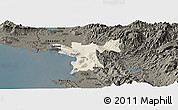 Shaded Relief Panoramic Map of Lezhë, darken