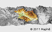 Physical Panoramic Map of Librazhd, desaturated