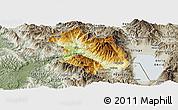 Physical Panoramic Map of Librazhd, semi-desaturated