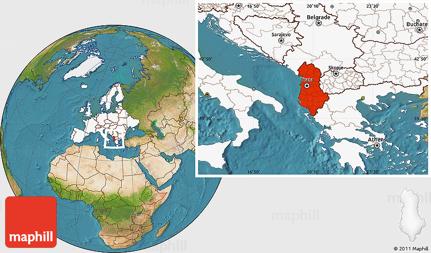 Satellite Location Map of Albania highlighted continent
