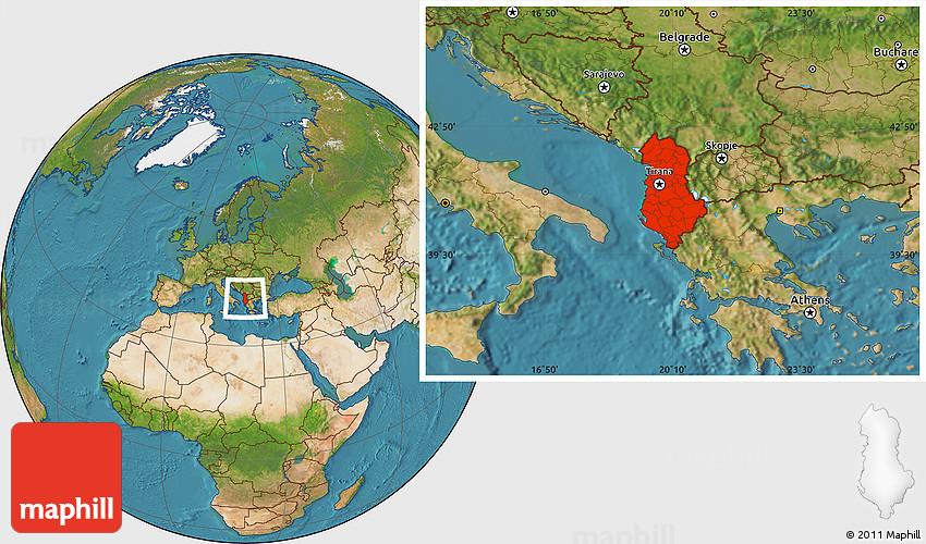 Satellite Location Map of Albania