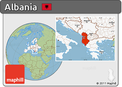 Free Savanna Style Location Map of Albania highlighted continent