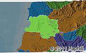 Political 3D Map of Lushnjë, darken