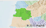 Political 3D Map of Lushnjë, lighten