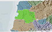 Political 3D Map of Lushnjë, semi-desaturated