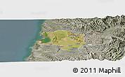 Satellite Panoramic Map of Lushnjë, semi-desaturated