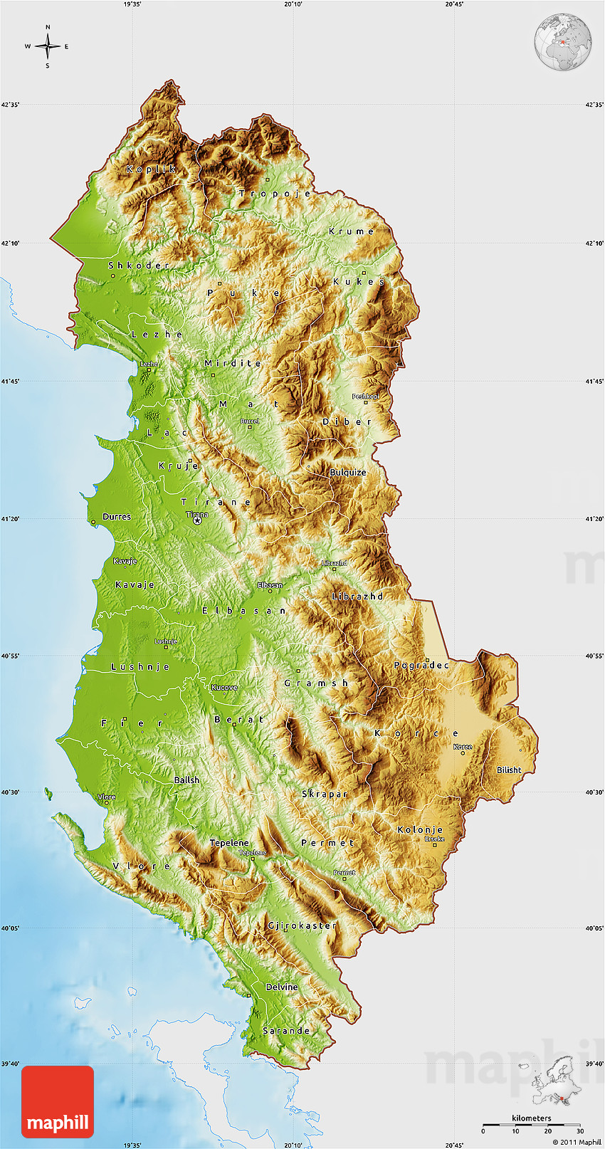 Physical Map Of Albania Single Color Outside - Albania physical map