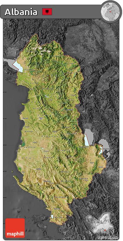 Free Satellite Map Of Albania Darken Desaturated - Albania satellite map