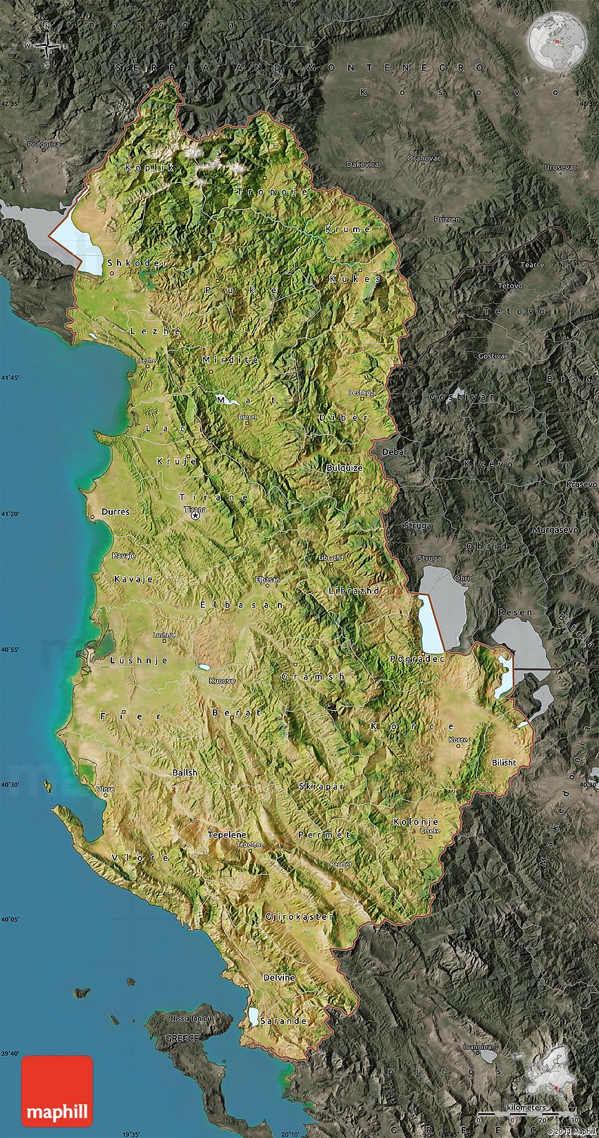 Satellite Map Of Albania Darken Semidesaturated Land Only - Albania satellite map