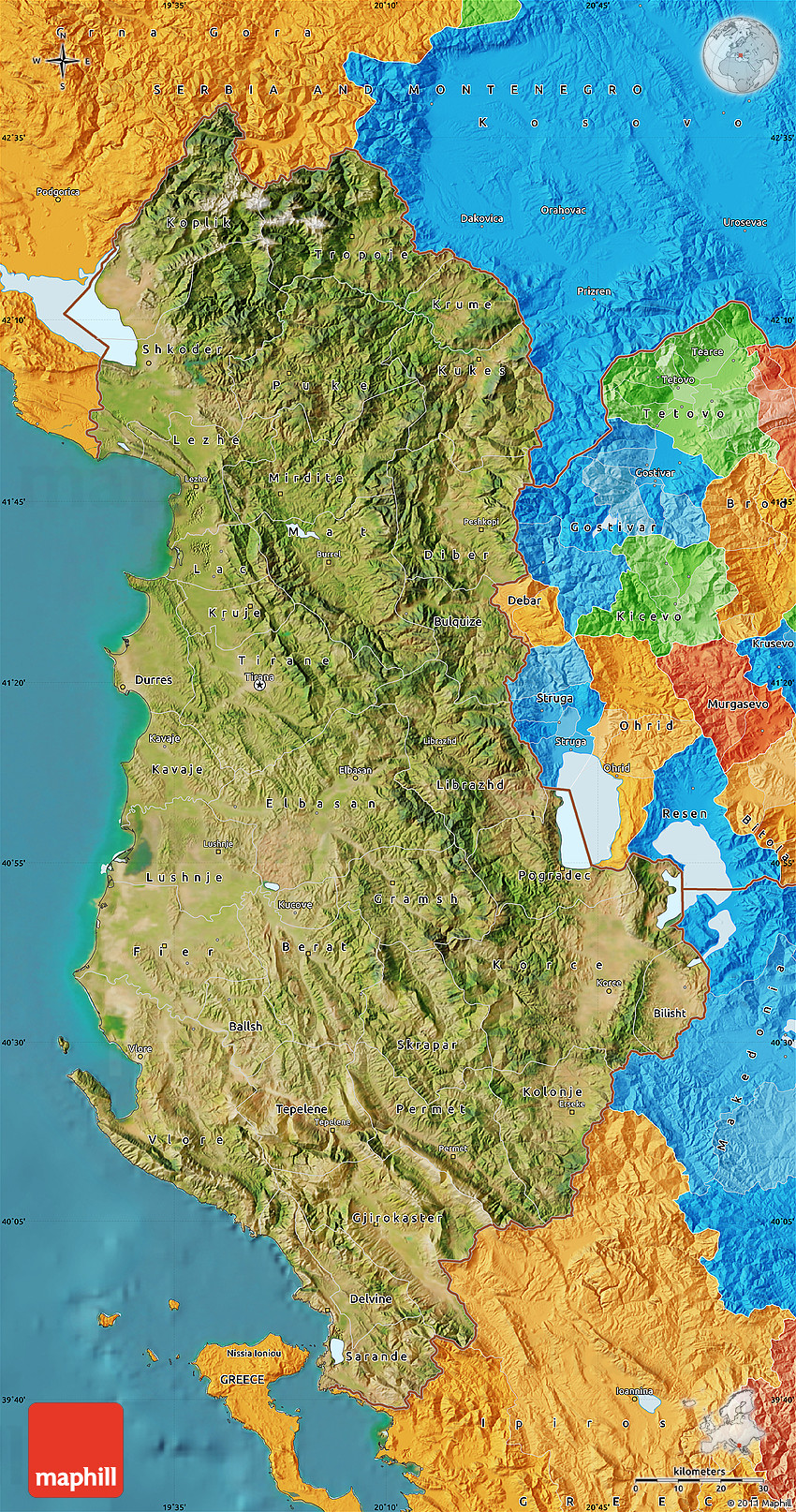 Satellite Map Of Albania Political Outside Satellite Sea - Albania satellite map