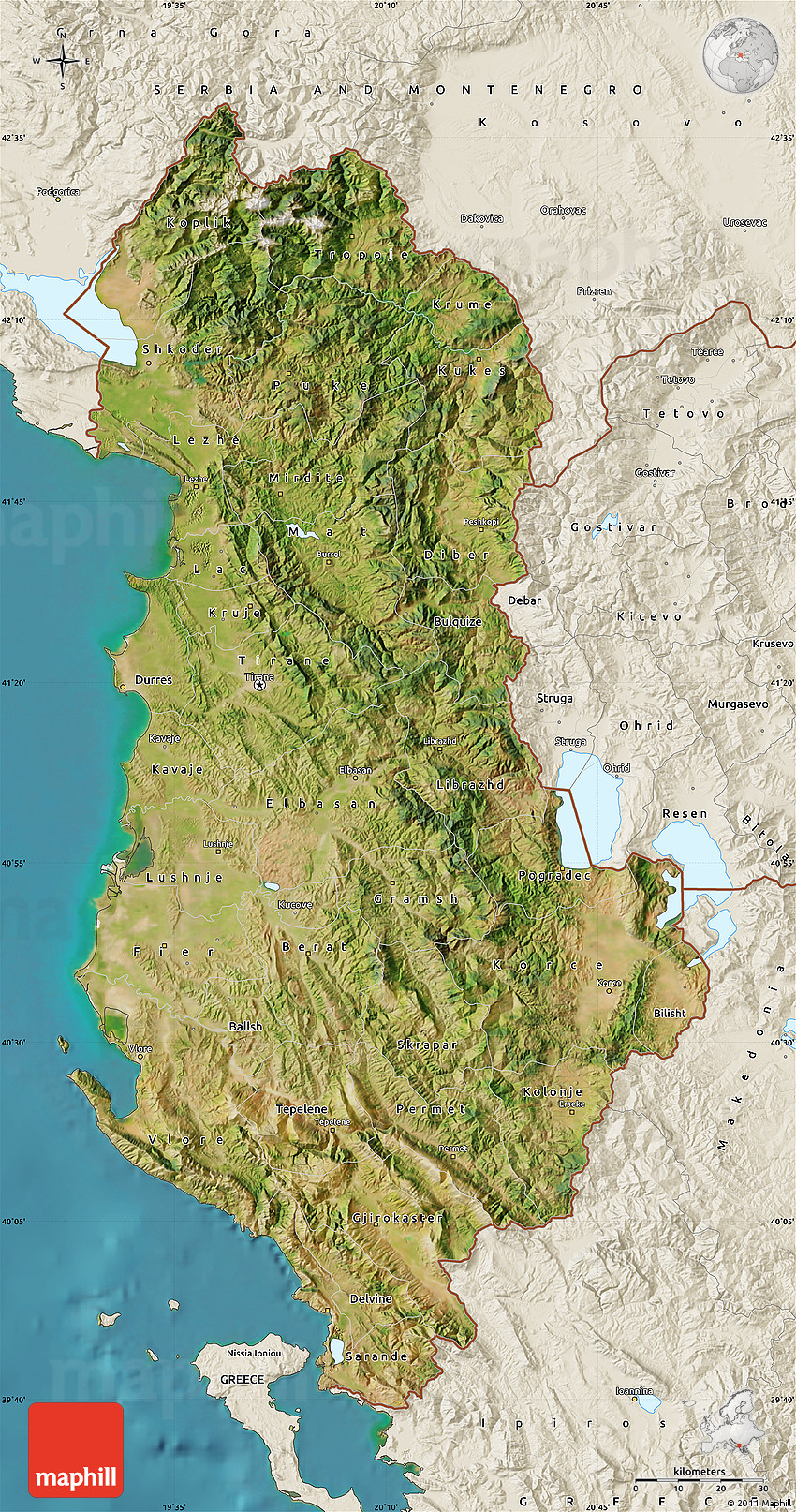 Satellite Map Of Albania Shaded Relief Outside Satellite Sea - Albania satellite map