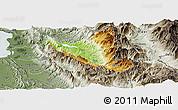 Physical Panoramic Map of Mat, semi-desaturated
