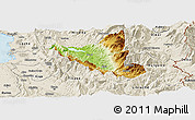 Physical Panoramic Map of Mat, shaded relief outside