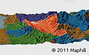 Political Panoramic Map of Mat, darken