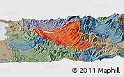 Political Panoramic Map of Mat, semi-desaturated