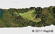 Satellite Panoramic Map of Mat, darken