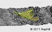 Satellite Panoramic Map of Mat, desaturated
