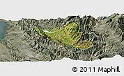 Satellite Panoramic Map of Mat, semi-desaturated