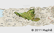Satellite Panoramic Map of Mat, shaded relief outside