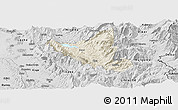 Shaded Relief Panoramic Map of Mat, desaturated