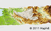Shaded Relief Panoramic Map of Mat, physical outside